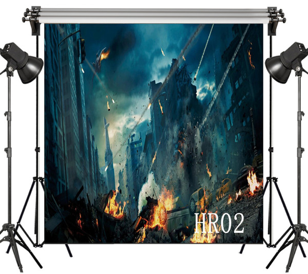 wholesale Polyester & Vinyl Super Hero City Urban War Ruins Combustion Backdrops Background For Photography Studio Backdrop Photo Props