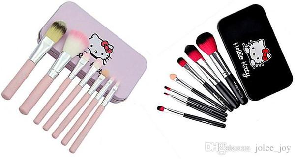 Heißer Verkauf 100sets hallo Kitty 7pcs / set Minimake-upbürsten-Kosmetikinstallationsfrauen bilden Werkzeuge für Lidschattenbürsten KT-Make-upbürstensatz