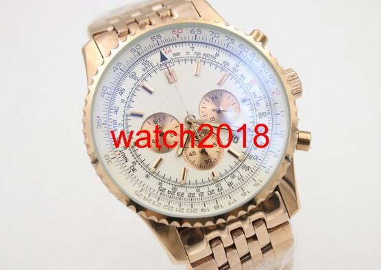 Luxury Watch Fine Quality Chronograph Quartz Golden Three Tone White Dial Men's Watch Golden Skeleton Watches Wristwatch
