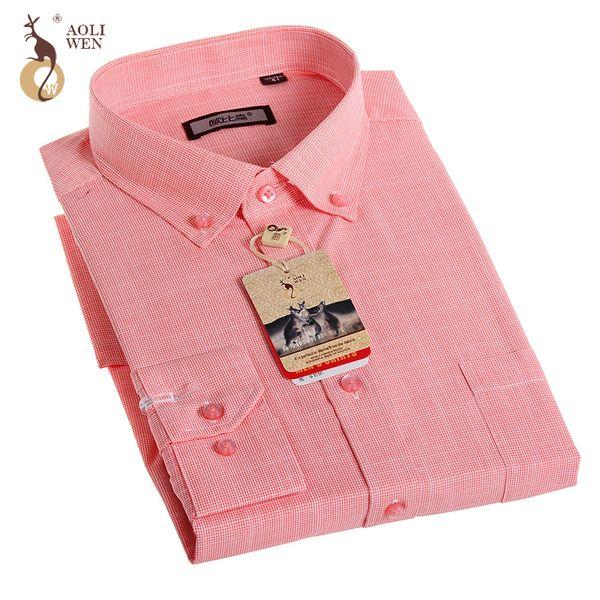 Aoliwen Camisa Social Masculina Brand Fashion Turn Down Collar Long Sleeve Mens Shirts Slim Fit Casual Plaid Shirts Plus Size