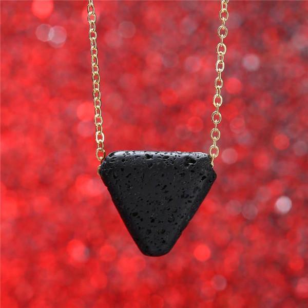 Siyah Lava Taş Kolye Lava Uçucu Yağ Difüzörü Kolye Kolye Zincirleri Kadınlar için Moda Takı Damla Nakliye