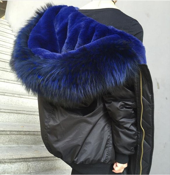 2018 women flight bomber jacket coats Meifeng brand fashion blue rabbit fur lined black bomber parka with ykk zipper short parkas
