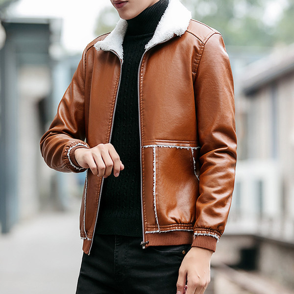 best selling Men PU Jacket Fall-New Winter Warm Mens Leather Jacket Fashion Plus Size 6XL Fur Coat Wool Liner Shearling Jackets and Coats