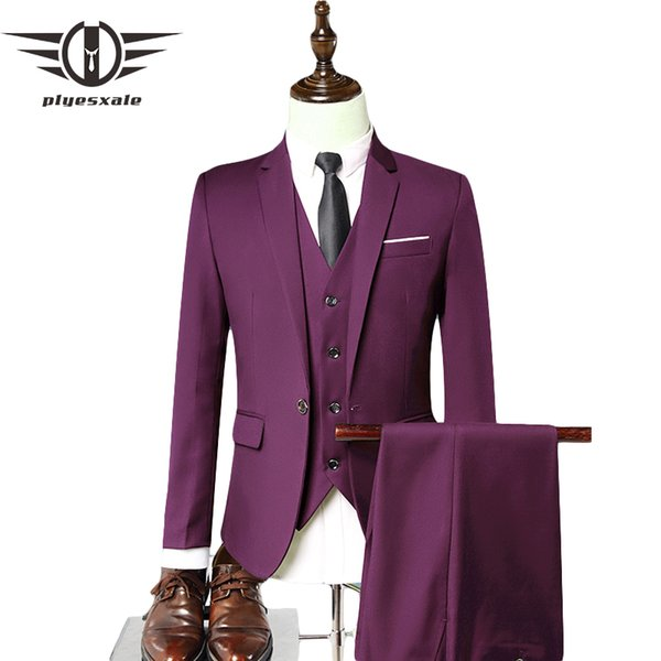 Plyesxale Men Dress Suits 2018 Slim Fit Men Suits For Wedding Brand 3 Piece Men's Formal Black Blue Gray Wine Red Q48