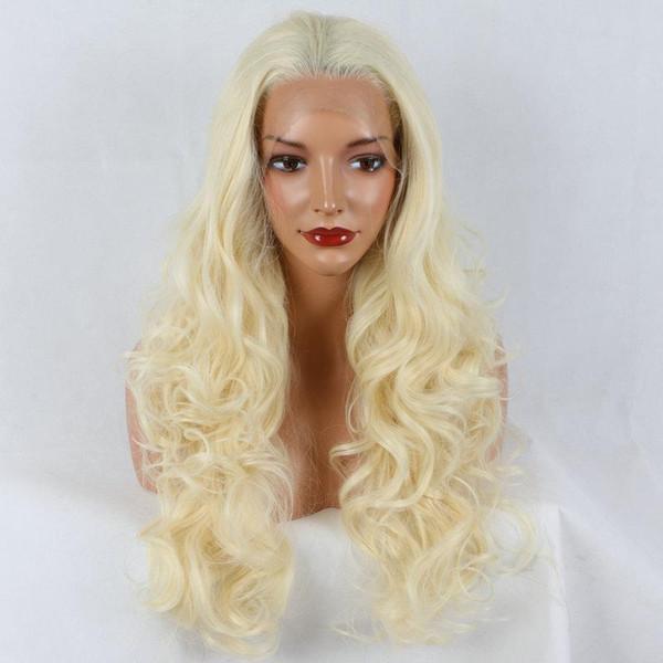 Lace Front Perruques Longue Vague de Corps Synthétique Dentelle Avant Perruque Miel Beurre Blonde Highlight Mixte Couleur Haute Température Fiber Pour Blanc Femmes