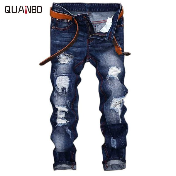 2018 Hombres Jeans Design Fashion Biker Hole Jeans Slim straight Ripped Blue Brand Casual Mens TrousersPius size 28-42