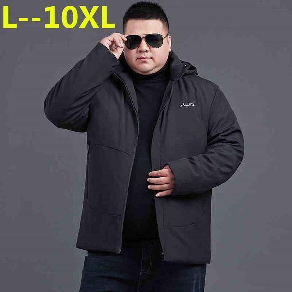 10XL 8XL 6XL 5XL Winter Jacket Men Hat Detachable Warm Coat Cotton-Padded Outwear Mens Coats Jackets Hooded Collar Thick Parkas