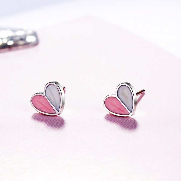 Korean temperament ice cream heart nail female simple sweet drop glaze love  fairies ins earrings earring a58b9a03dd1b