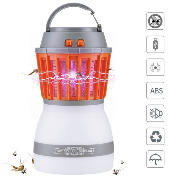 USB Mosquito Killer Lamp Bug Zapper 2 In 1 Night LED Light Bulb Lamp Mosquito Zapper Repellent Waterproof Rechargeable Portable For Outdoors