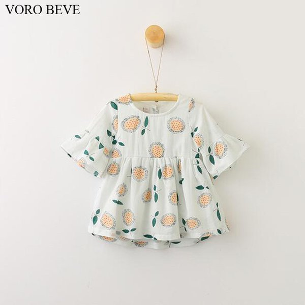 VORO BEVE Fashion Kids Clothes Summer Baby Girl Dress Sunflower Printing Horn Sleeve Simple Dress