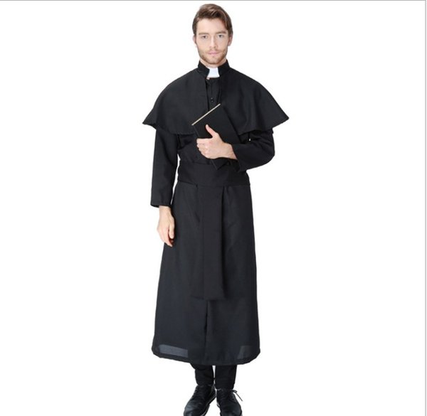 Men Jesus Missionary Costume Priest Christian Suits Women Nun Drama Clergyman Adults Fancy Dress Carnival Cosplay Costumes PS075