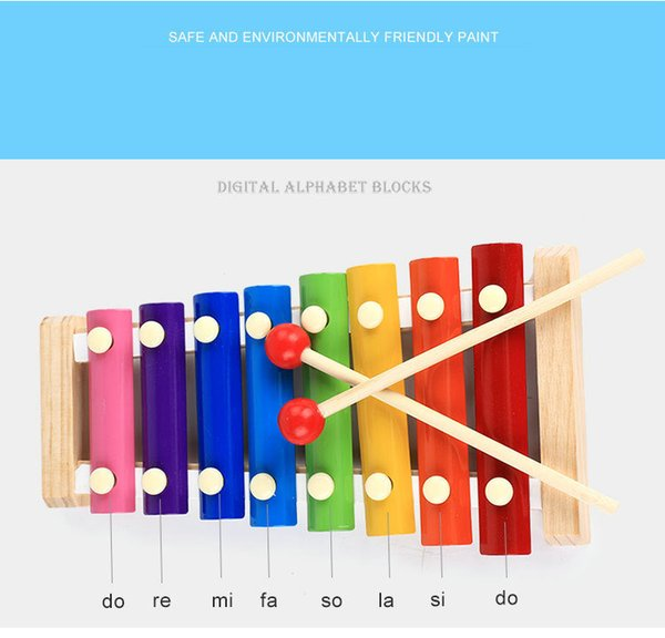 wood hand knocks the 8-Note xylophone serinette Eight piano digital alphabet blocks kids baby Musical toy piano Instrument gift 2pcs