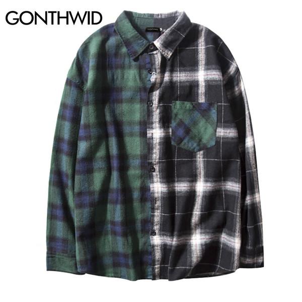 GONTHWID Contraste Cor Do Vintage Camisa Xadrez Homens 2017 Patchwork Bolso Camisas de Manga Longa Hip Hop Casual Botão Up Camisas