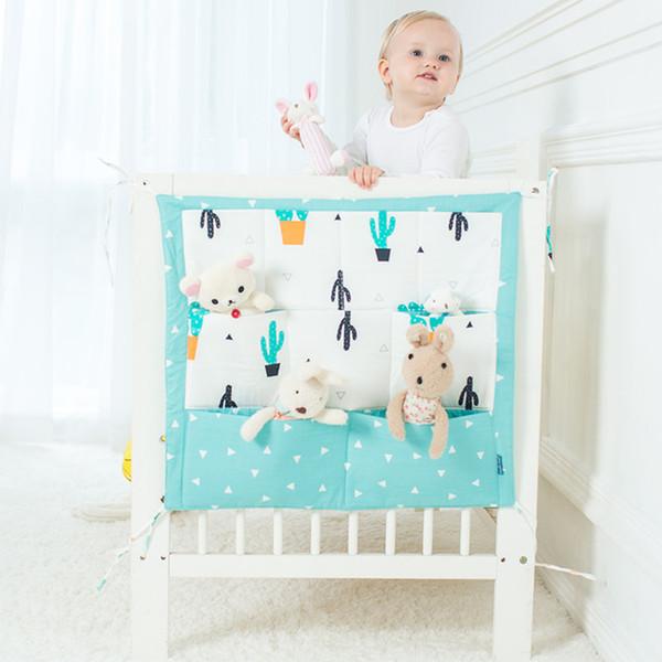 Cartoon Rooms Nursery Hanging Storage Bag Baby Cot Bed Crib Organizer Toy Diaper Pocket For Newborn Crib Bedding Set 60 *50cm