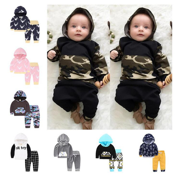 top popular Newborn Infant Baby INS Suits 29 Styles Hoodie Tops Pants Outfits Camouflage Clothing Set Girl Outfit Suits Kids Jumpsuits OOA4498 2021