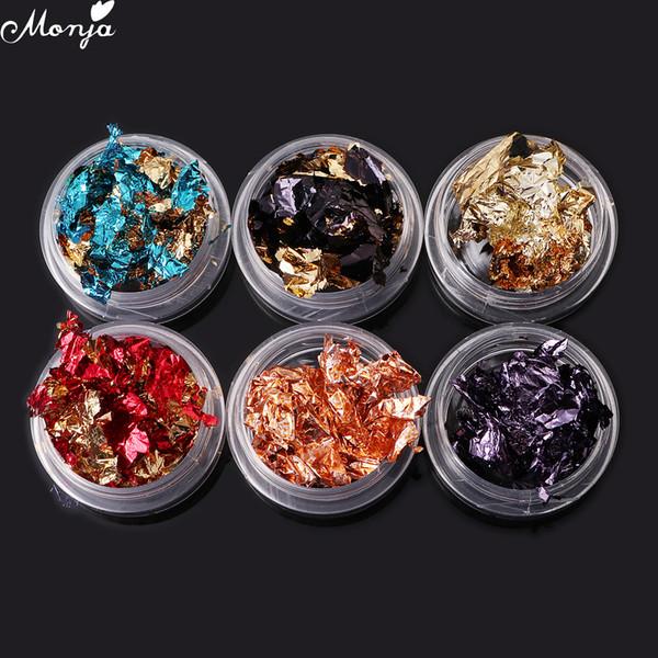 6 Jar/set Colorful Nail Art Glitter Aluminum Foils Flake Sticker Decals DIY Decoration Manicure Tools