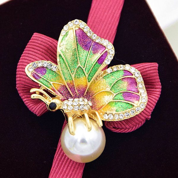 Hot Selling Special Design Pretty Gift Glitter Butterfly Brooch Sparkling Clear Crystal Color Enamel Faux Pearl Collar Pin Elegant Scarf Pin