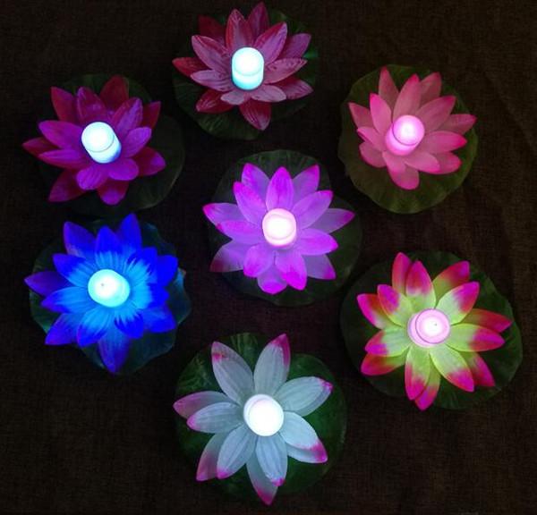 LED Lotus Lamp in Colorful Cambiato galleggiante Piscina con acqua che desiderano lampade di luce Lanterne per la decorazione del partito che desiderano lampada HHA9