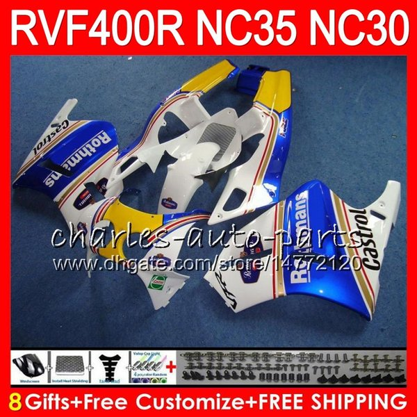 VFR400R For HONDA NC35 V4 Rothmans Blue RVF400R 1989 1990 1991 1992 1993 82HM77 RVF VFR 400 R NC30 VFR 400R VFR400 R 89 90 91 92 93 Fairings