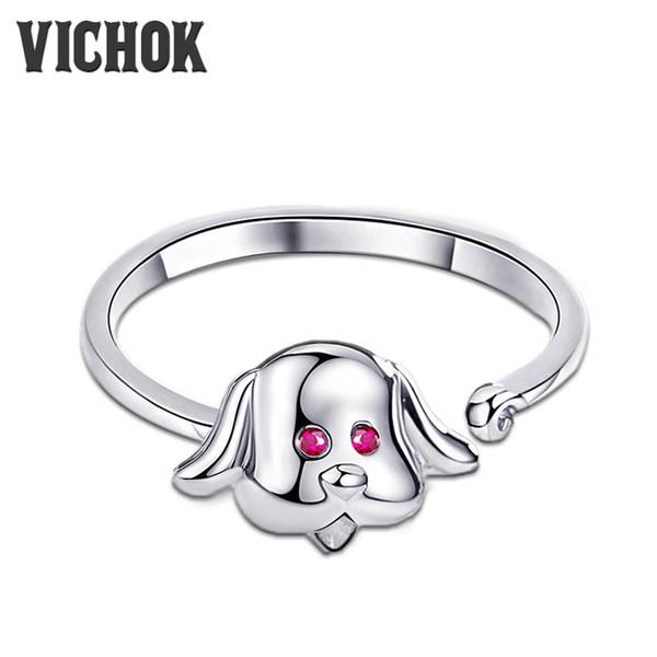 Cute Dog Ring 925 Sterling Silver Loyal Partners Dog Animal Female Ring for Women Girls Fashion Adjustable Jewelry VICHOK