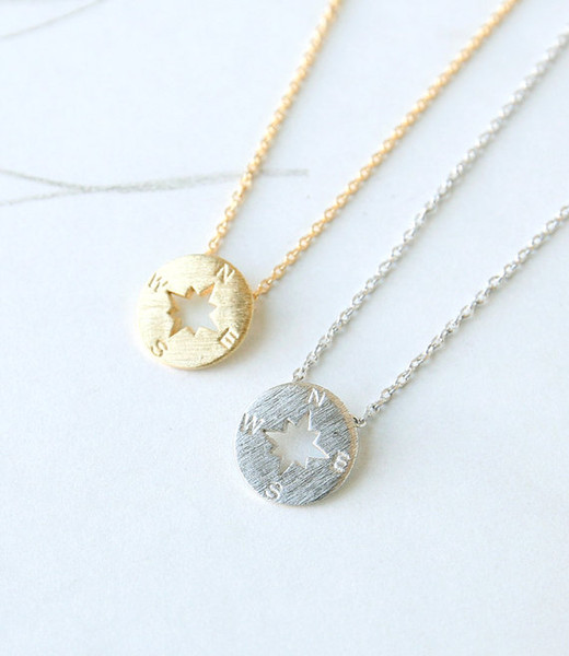 10pcs Simple Hollow Geometric Round Compass charm Necklace Hollow Disc Triangle Polygon Necklace Nautical Direction Lucky Necklace Jewelry