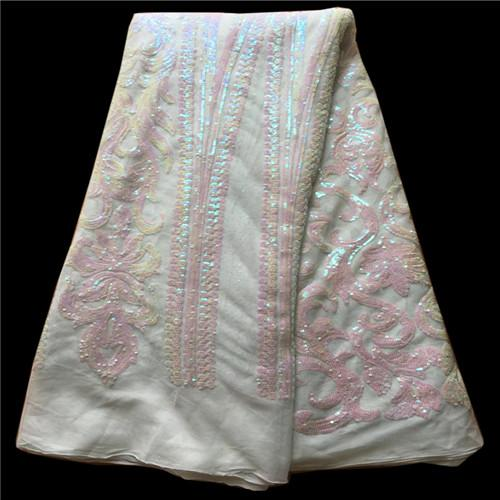 TNY1009 Free shipping (5yards/pc) shining African French lace fabric sequins lace fabric with gorgeous embroidery for party dress