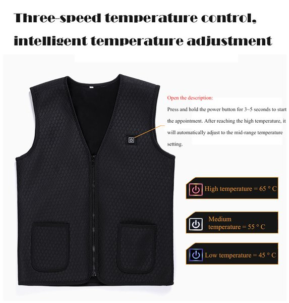 2019 Hot man Vest unisex Outdoor Warm Electric Heated Clothing Riding Skiing Fishing USB Charging Electric Heated Vest 30
