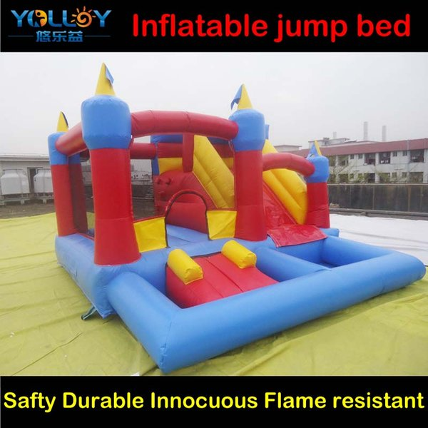 3 in 1 Combo inflatable castle jumping bed slide and pool 6mLx6mWx3.2mH durable and safty