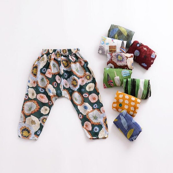 Children's Clothing Summer Boys Girls Cotton Mosquito-proof Harem Pants 8 Pattern Cute Loose Thin Air Conditioning Trousers For Kids