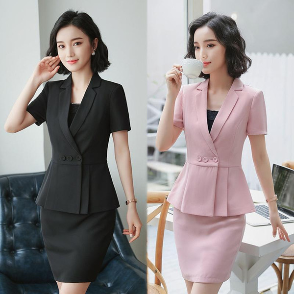 2018 Formal Office Skirt Suit for Women Work 2 pieces Short Sleeve Jacket +Skirt Summer Career Uniform HPZ-SY-6833TQ
