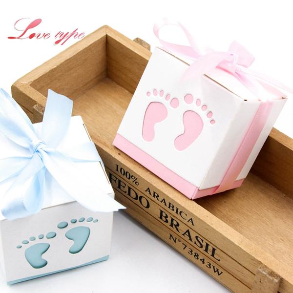 Linda caja de dulces Baby Foot BluePink cajas de regalo de papel decoración para niños fiesta de cumpleaños DIY Baby Shower Supplies