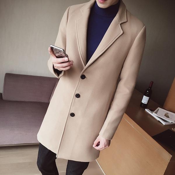 top popular S-5XL Men's Solid Color Wool Coat England Middle Long Coats Jackets Slim Fit Male Homme Winter Overcoat Woolen Coat Korean 2021