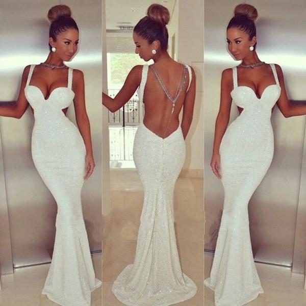 Simples Branco Sem Encosto Sereia Vestidos de Baile Sexy Querida Longo Até O Chão Vestidos de Noite De Lantejoulas Brilhantes Formais Vestidos Transporte Rápido 85