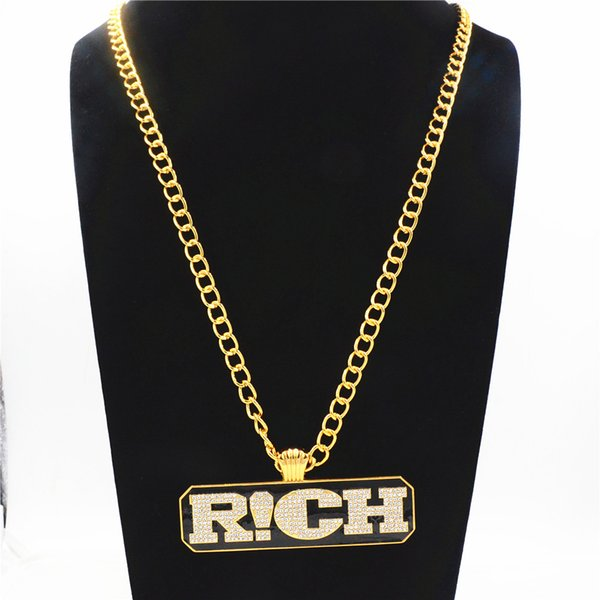 Hip hop Mens Long Link Chain Jewelry Full Iced Out Rhinestones RICH Letters Tag Pendant Gold Necklace The Rap Of China