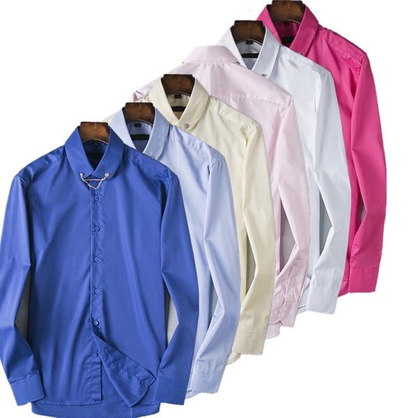 2019 новый осень и зима мужская рубашка с длинными рукавами хлопка сплошной цвет мужская мода повседневная рубашка поло бренда отворот бизнес рубашка
