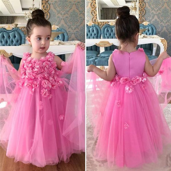 Rosa 3D Floral Flower Girls Dresses 2018 Puffy Ball Gown Tulle Long Birthday First Communion Dress Niños Prom Party desfile Vestidos baratos