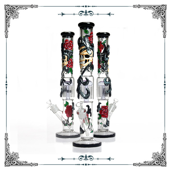 18 inch large straight tube bong hand drawing skull rose art glass water bong 12 arm tree perc bongs for smoking big glass water pipe hookah