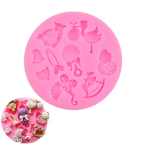 3D Food Silicone Baby/Bear/Foot/Birds Shape Fondant molds, soap candle sugar craft tools chocolate bakeware By Handmade