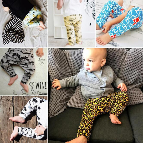 6 Style kids 2017 New INS Leopard pp pants baby toddlers boys girls fox dinosaur geometric figure fruit trousers Leggings