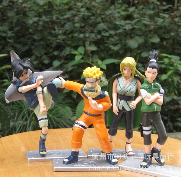 4pcs/set Naruto Tsunade Uchiha Sasuke Nara Shikamaru Uzumaki Naruto Action Figures Anime PVC brinquedos Collection Figures toys