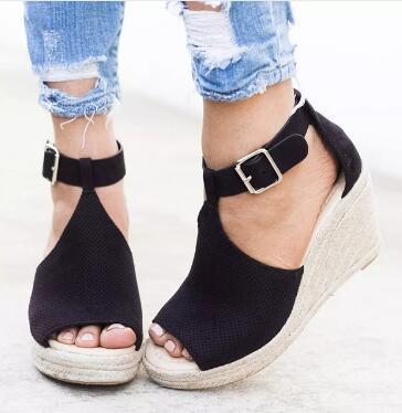 Moda estate donna sandali con zeppa tacchi peep toe scarpe tacchi alti scarpe da spiaggia moda confortevole roma plus size 42 43 SNE-095