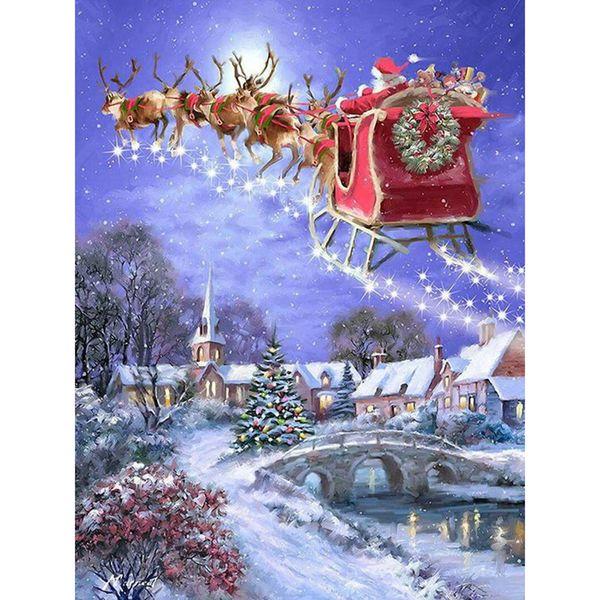 Full square diamond 5D DIY diamond embroidery Christmas trip diamond painting Cross Stitch Rhinestone mosaic home decoration