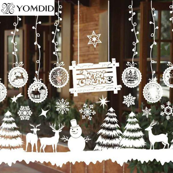 Merry Christmas Window Decorations Santa Claus Deer Snowman Snowflakes Bells Christmas Decals Ner Year Enfeites De Natal Christmas Home Decor