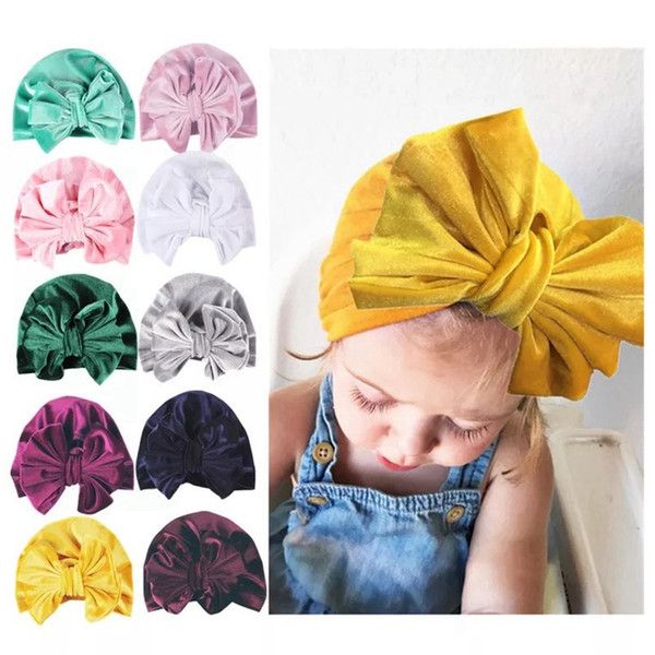 Velvet Baby Turban Hats Knotted Bow Baby Turban Top Knot Turnban Hats for Newborn Babies Bun Turban Toddlers Winter Hats Royal Arabic