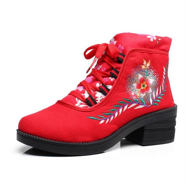 Autumn Women's Shorts Colorblock Boots Cotton Embroidered Lace Casual Single Embroidered Boots Canvas Wedges AK495