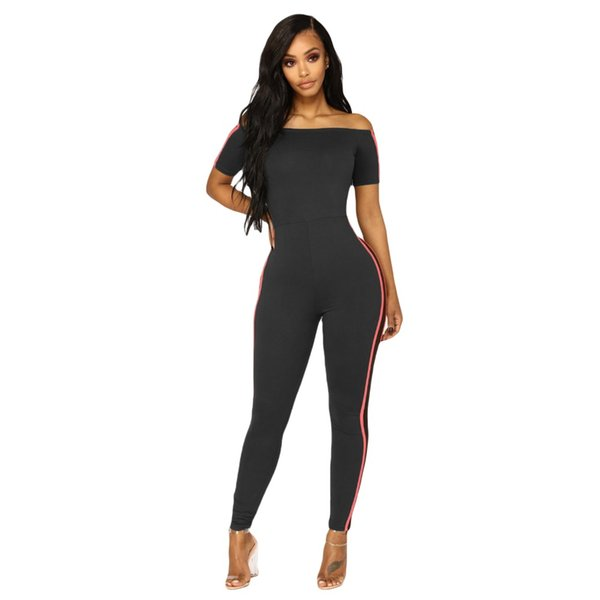 Off the shoulder jumpsuits women striped side short sleeve skinny elastic sexy bodycon jumpsuits rompers one piece outfits