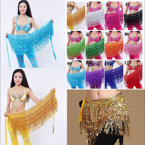 185cm Belly Dance Costume Shine Tassel Fringe Hip Belt Waist Wrap Skirt Dancing Scarf Ethnic Clothes Kids Stage Wear AAA599