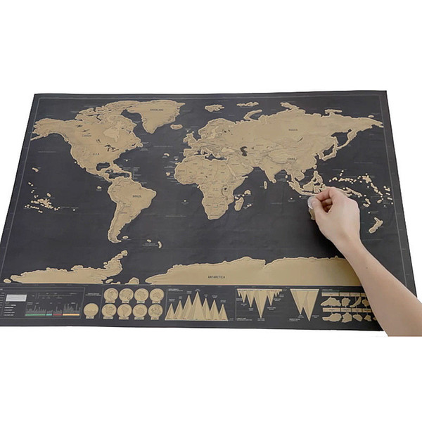 Deluxe Black World Map Travel Scrape Off World Maps Vintage Retro Home Decorative Map Toy DIY Gift Education Learning Toys With Tube Package