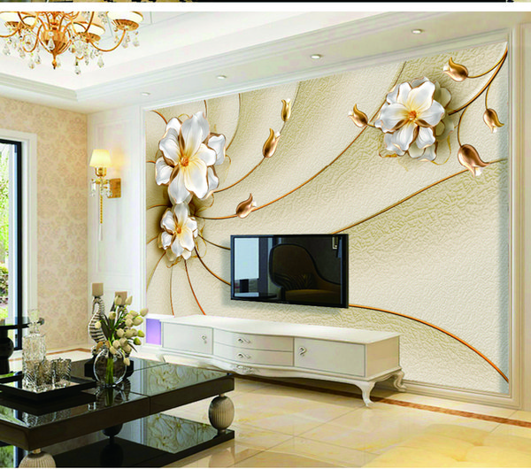 Custom Retail 3D New European Embossed Beautiful Floral TV Living Room Wall  Decoration Mural 3d Wallpapers A Hd Wallpaper From Yunlin188, $35.18| ...