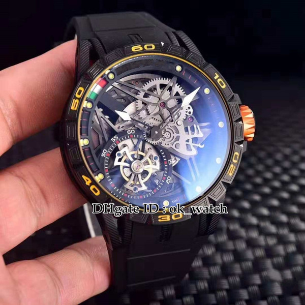 New Excalibur Spider RDDBEX0479 black rubber strap Japan Miyota Automatic Mens Watch Luxury Skeleton Dial tourbillon Gents top sport watches